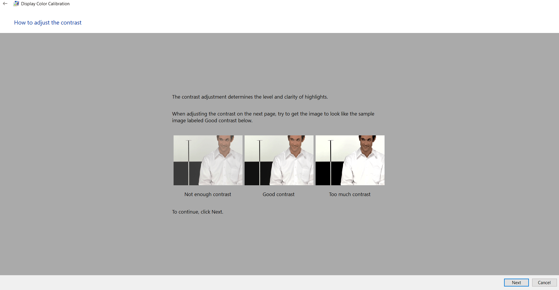 How to adjust the contrast in monitor